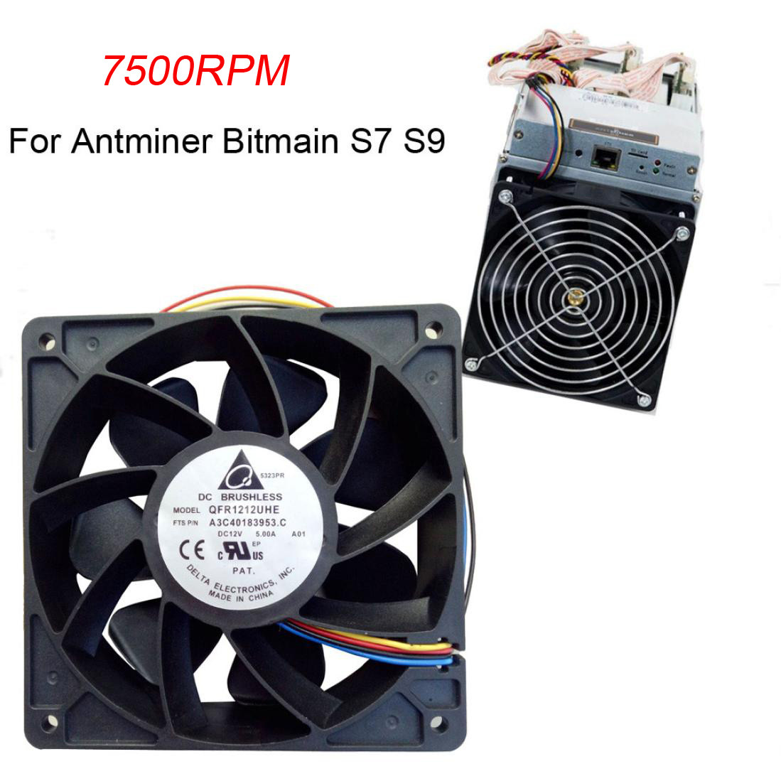 Factory Price 7500RPM Cooling Fan Replacement 4-pin Connector For Antminer Bitmain S7 S9 6M3 Drop Shipping