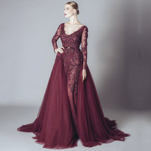 New Arrival Thời Trang Burgundy Dài Evening Dresses Long Sleeve Double V Neck Đính Chính Đảng Gowns Custom Modest Prom Dress(China)
