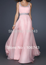 free shipping elegant 2014 new Sexy pink chiffon bridesmaid vestidos formales long crystal beading prom gown Graduation Dresses