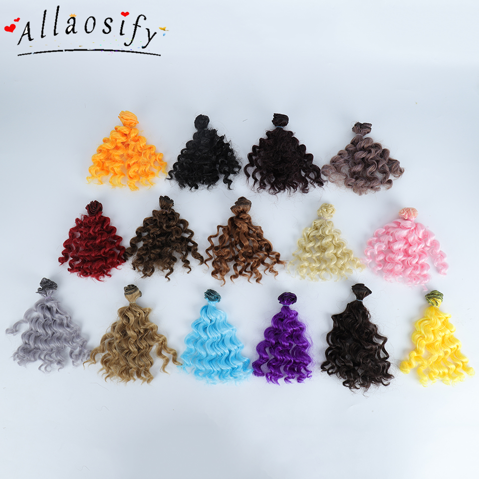 Allaosify 15cm*100CM BJD Wigs Black Gold Brown Silver Color Short Curly Hair For 1/3 1/4 1/6 Dolls DIY Free Shipping