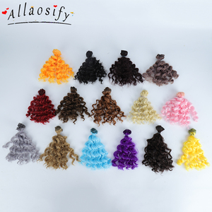 Allaosify 15cm*100CM BJD wigs Black Gold Brown Silver Color Short curly Hair for 1/3 1/4 1/6 dolls DIY Free shipping(China)