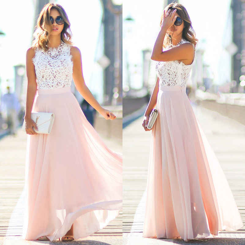 752021bd7c80 Wholesale Price New Elegant Women Lace Chiffon Formal Wedding Bridesmaid  Long Party Ball Prom Gown Sleeveless