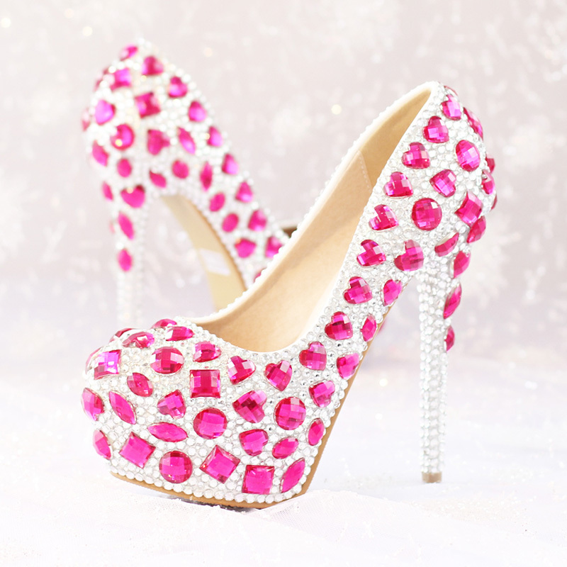 2018 High Heel Luxury Rhinestone Bridal Dress Shoes Pink Crystal Wedding Shoes Womens Modeling Event Platform Party Prom Shoes 2015 fashion designer bridal dress shoes platform glitter rhinestone white high heel wedding dress shoes hot drilling party shoe