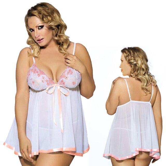 bb8362117 Sıcak SaleSexy Lingerie Lady diaphanous pijama dantel etek Pijama Artı  Boyutu Iç Çamaşırı S-6XL