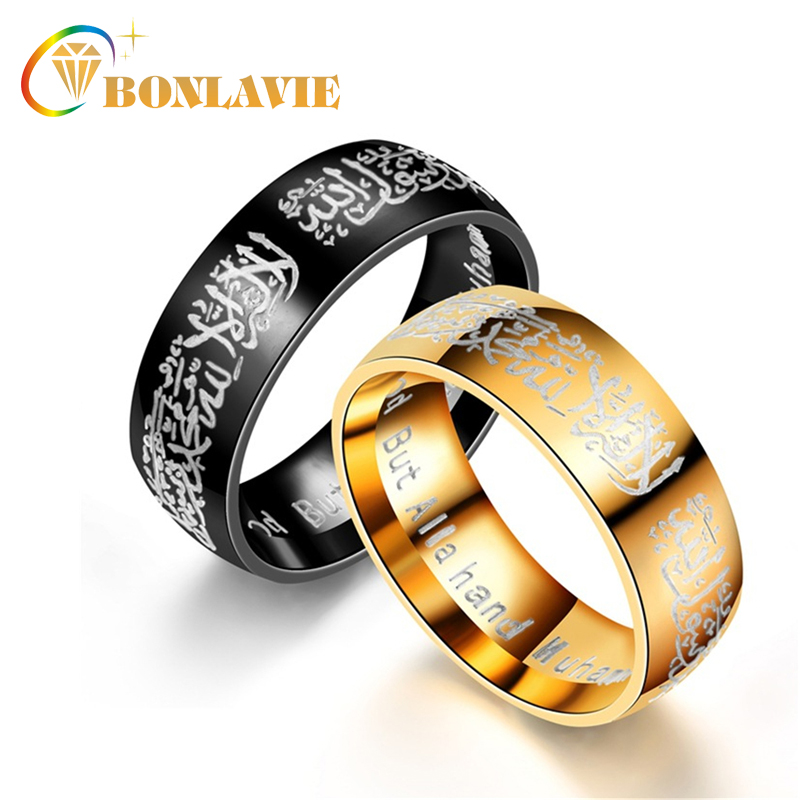 Size 6-13 Unisex Gold Color Stainless Steel Muslim Allah Round Rings For Men And Women Islam Arabic Quran Religious Jewelry Cheap Sales Rings