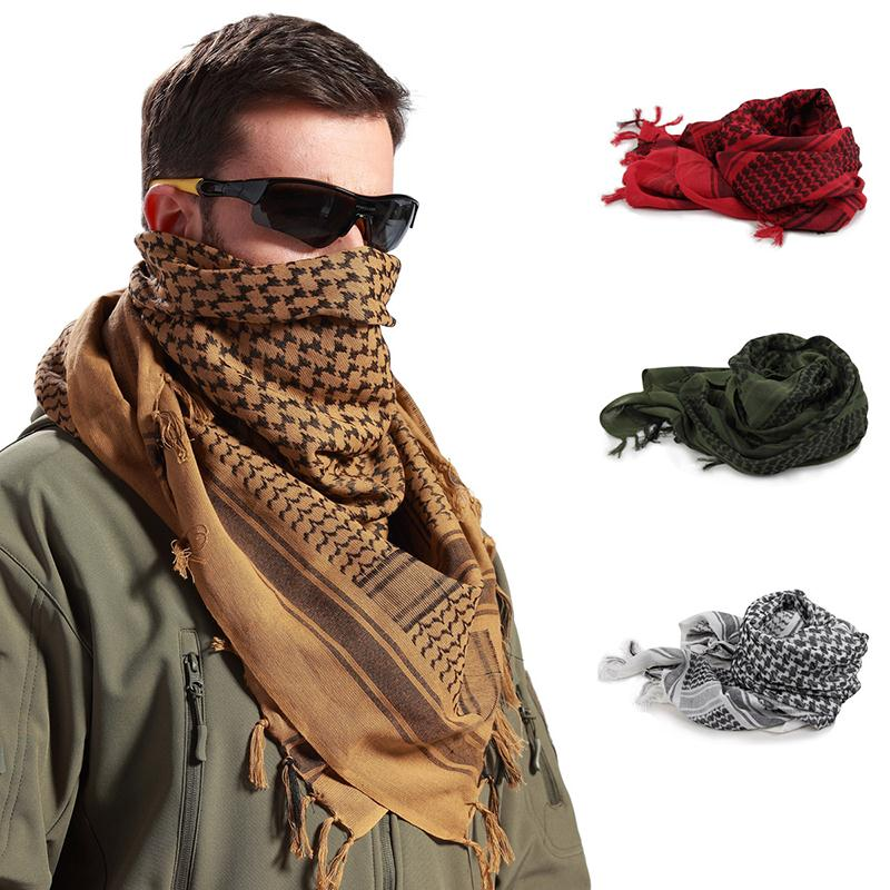 100x100cm Outdoor Hiking Scarves Hunting Army Military Tactical Desert Arab Scarf Keffiyeh Shemagh Shawl Scarve Wrap With Tassel(China)