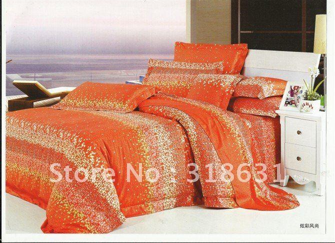 latest modern design bright orange bedlinen comforter sets with 1comforter 4pcs duvet quilt cover sets queen
