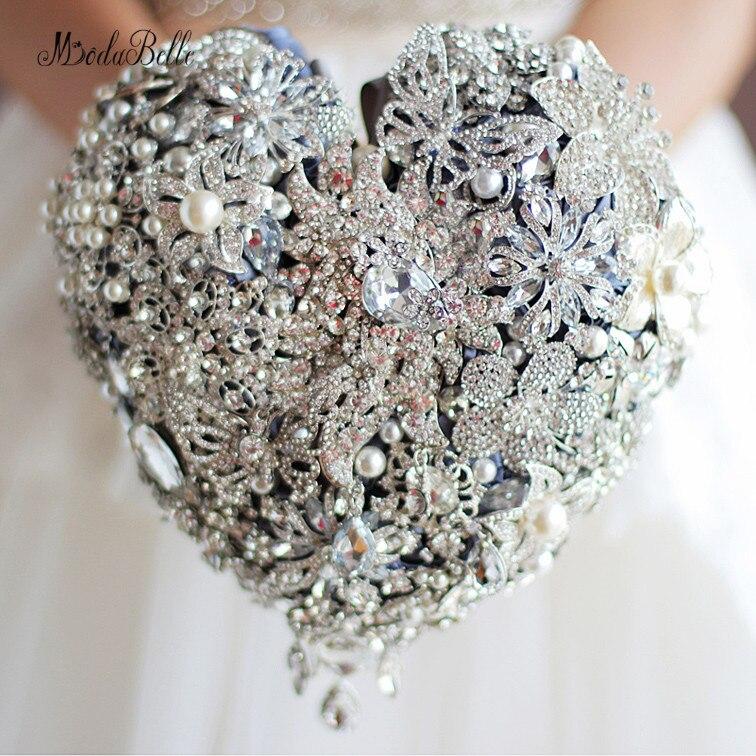 Frisado Coração-em forma de Pérola Buquê De Noiva Buquê De Casamento Broche Que Bling Luxo Strass Cristal Flor Bruidsboeket Voor Bruiden