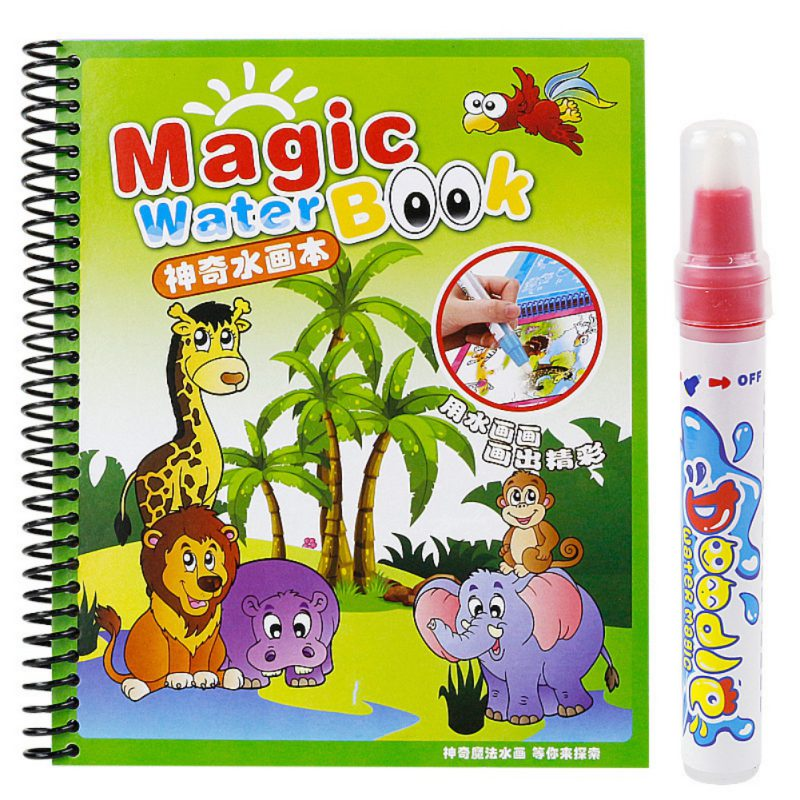 4 Colors 2 Pcs Magic Water Drawing Coloring Doodle Book+A Magic Pen Painting Set Toy For Children Early Education Drawing Toy 5 themed boards reusable magic water drawing coloring book doodle with pen painting drawing board kids children education toy
