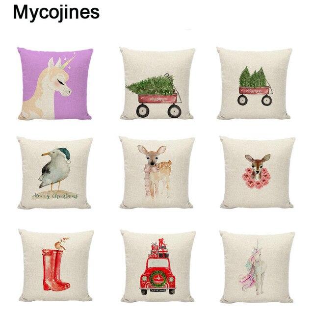 Buon Natale Regali di Cuscino Unicorno Coperture Agriturismo Felice Anno Nuovo A