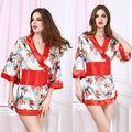 Одежды для женщин атласа женская печать половина рукава атласная полиэстер гостиная сна халаты халаты атлас кимоно халат