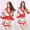 Robes For Women Satin Dressing Gown Women's Print Half Sleeve Satin Polyester Sleep Lounge Robes Bathrobes Satin Kimono Robe