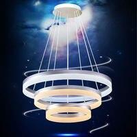 간단한 크리 에이 티브 원형 아크릴 droplight 현대 led 펜 던 트 전등 거실 식당 매달려 램프 실내 조명
