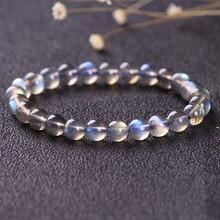 Fashion Beaded Labradorite Bracelets for Women Energy 5A Moonstone Elasticity Strand Bracelet Handmade Nature Stone Bead Jewelry