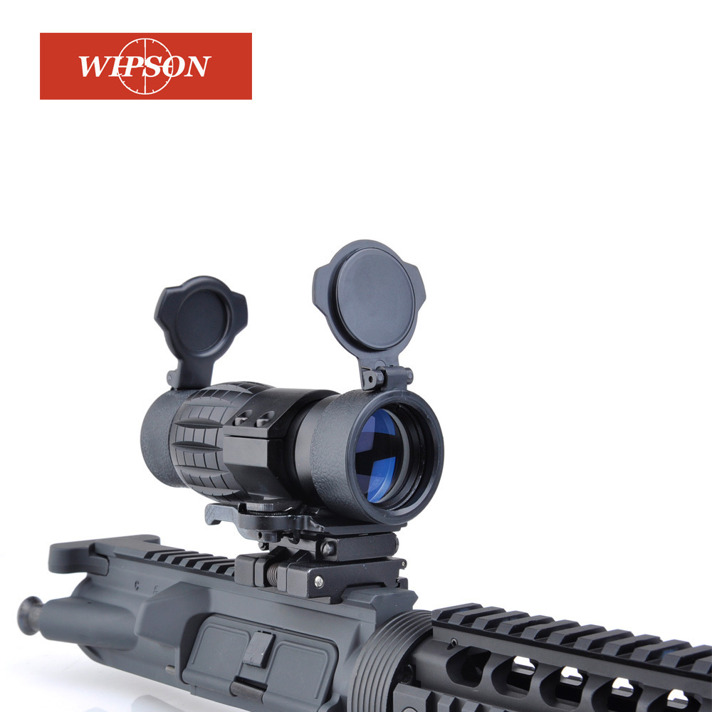 WIPSON Tactical QD FTS 4x Magnifier Scope Optics Riflescope Fits Sight with Flip To Side Picatinny Weaver Rail Mount WP5338 wireless barcode scanner bar code reader 2 4g 10m laser barcode scanner wireless wired for windows ce blueskysea free shipping