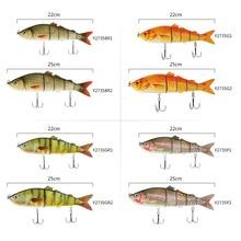 Lixada 22cm 25cm Fishing Lures Hard Swimbaits Crank Bait Lifelike 5 Segments Saltwater Lure Fishing Tackle for Sea Beach Pesca