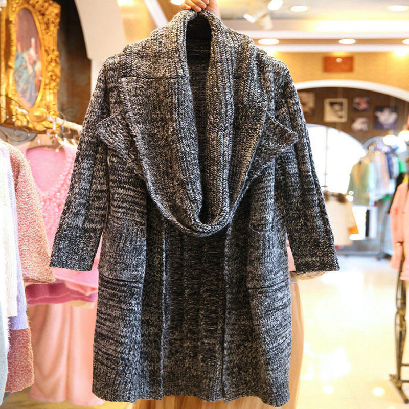 BINGYUANHAOXUAN Women Wool Sweater Cardigan Female Cashmere Knitted Plus Size Coat Femme Long Sleeve Loose Sweater with Scarf