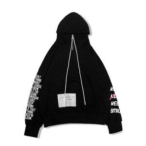 Image 5 - Automne 2018 nouveau Zipper lettre impression Hoodis pour hommes et femmes surdimensionné coton lâche mode pull Sweatshirts porter Couple