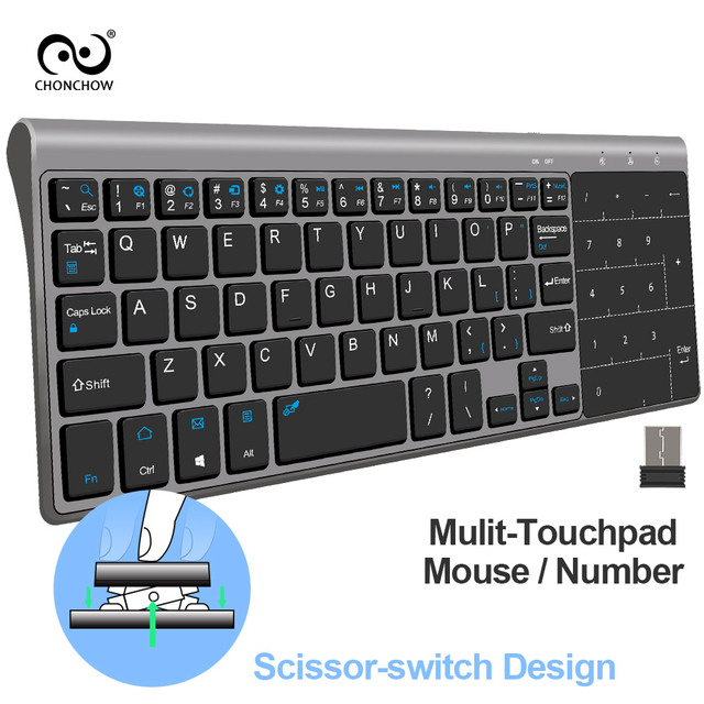 CHONCHOW 2.4G Mini Wireless Keyboard Touchpad Protable USB Keyboard Air Mouse for Mac PC Window 7/10 Vista Android Smart TV Box