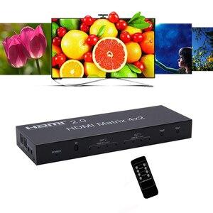 Image 4 - 2.0 HDMI מטריקס 4x2 4K @ 60Hz HDR מתג ספליטר 4 ב 2 מתוך YUV 4:4:4 אופטי SPDIF + 3.5mm שקע אודיו Extractor HDMI Switcher