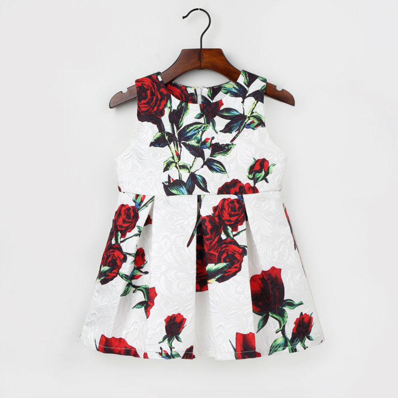 2-7Y Cute Flower Pattern Dress For Girls Kids O Neck  Sleeveless Clothing 2017 New Style Fashion A Line Dresses Children Clothes new kids girls fashion o neck sleeveless dress cute animals print dress girls a line dress clear