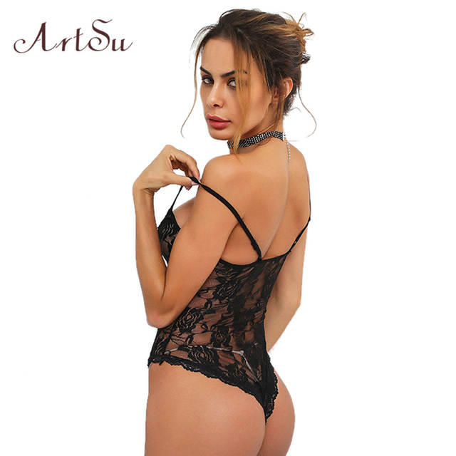 86eb7422f38 Online Shop ArtSu Sexy Deep V Neck Bodysuit Women Summer See Through Body  Rompers Spaghetti Strap Jumpsuit Lace Bodysuits Top ASJU30018