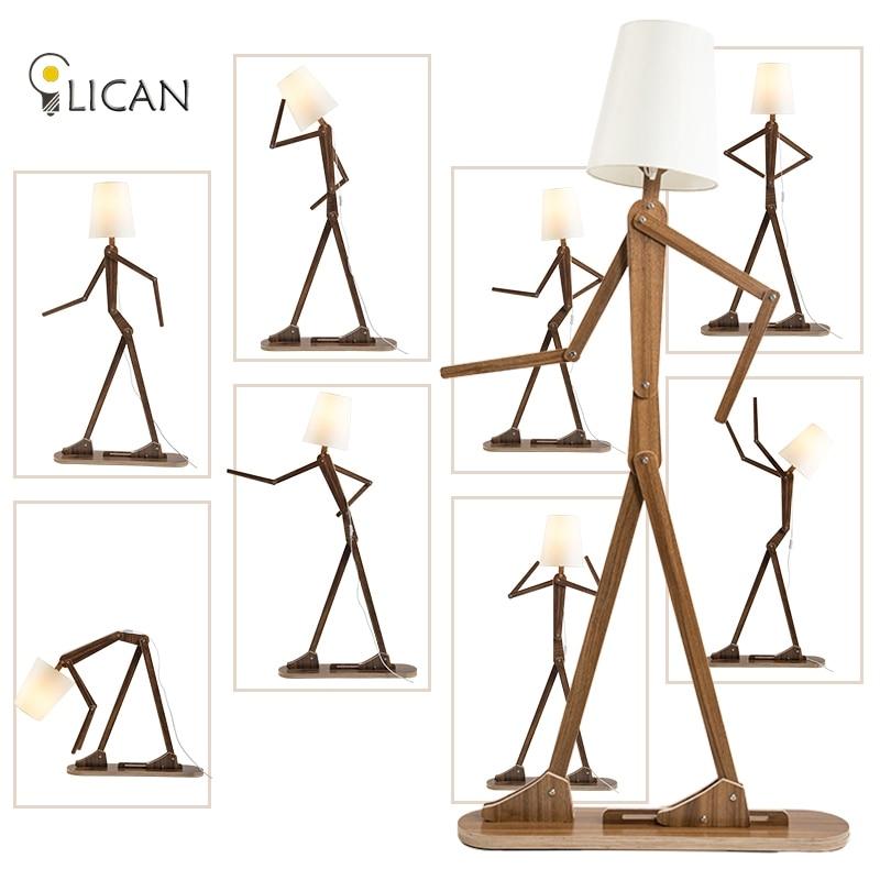 Rustikale Kreative Holz Humen Stehleuchte Leinen Lampenschirme Klassische Stand Lichter Fr Nacht Wohnzimmer