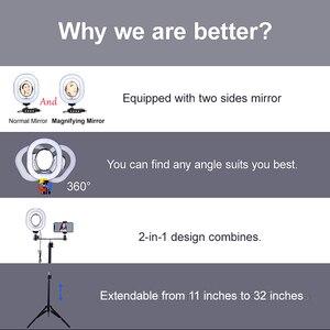 Image 3 - Yizhestudio 2 في 1 خاتم إضاءة ليد طقم الإضاءة صور مصباح للفيديو لايف يوتيوب Selfie مصباح مع بلوتوث ترايبود الهاتف عقد