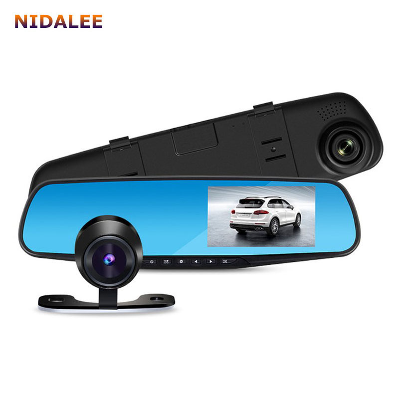 car rear view mirror dvr with 2 cameras dashcam 1080p video registrator recorder g sensor motion. Black Bedroom Furniture Sets. Home Design Ideas
