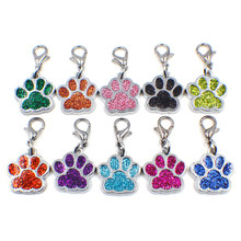 100pcs mixed color HC358-1 Bling Enamel Cat Dog/Bear Paw Prints fit Rotating Lobster Clasp Key Chain Keyrings bag Jewelry Making(China)