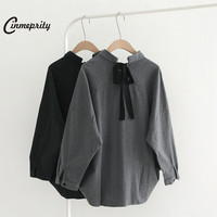 Cinmeprity Autumn Woman Full Cotton Long Sleeves Blouse Cardigan Solid Color Grey Black 2017 Autumn Bow