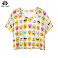 JIAYIQI Hot Fashion Emoji Smiley Emoticon T-Shirt Summer Crop Tops Short Sleeve Top Tee for Girl 2017