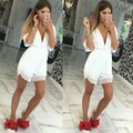 2017 Fashion Ladies' elegant sexy Short Sleeve Sexy Lace V-neck Rompers Women New Summer Female Overalls Short Jumpsuit J17