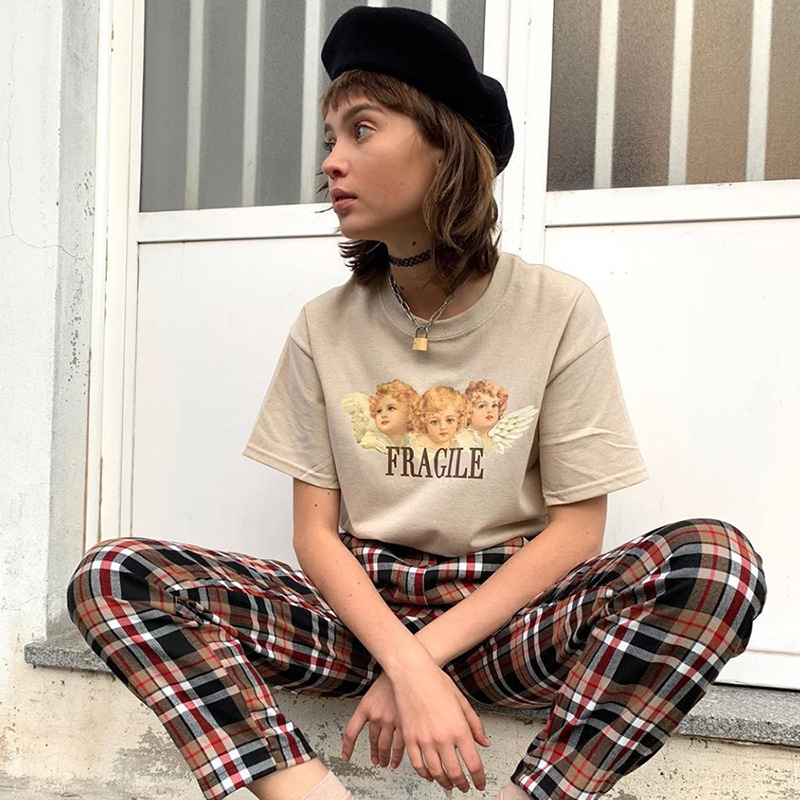 a6ca3f15d89 NCLAGEN 2019 Spring Fashion Cartoon Print Tee Shirts For Women Comfortable  Cotton Loose Casual Tees O
