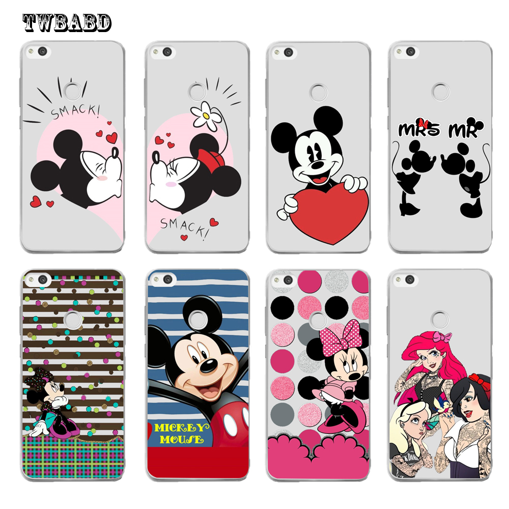 Love Minnie Mickey Mouse For Fundas Huawei P20 P10 P8 P9 lite Y5 2017 P10 2017 Y6 II Pro Y7 honor 9 case for coque P20 lite