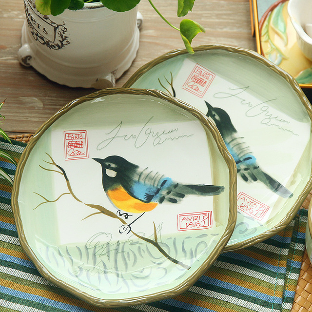 Free Shipping 8 Inch Hand-painted Tableware Wedding House Warming Gift Ceramic Plates Dishes Dinner & Free Shipping 8 Inch Hand painted Tableware Wedding House Warming ...