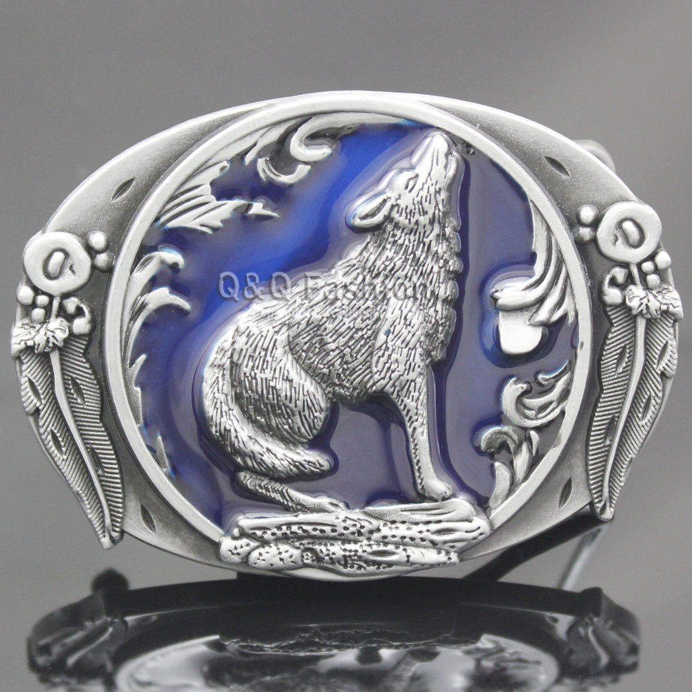 Western Vintage Silver Blue Howling Wolf Tactical Belt Buckle Alchemy Coyote Feather Cowboy Men Gift Costume Jewelry Acessories