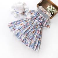 Retail 2017 Summer New Girls Bohemia Dresses Off The Shoulder Floral Chiffon Beach Dress With Sunhat