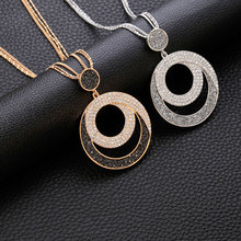 Geometric Round Crystal Pendant Necklace Women Gold Silver Leather Crystal Long Sweater Necklace Fashion Jewelry Gifts 2018 New цена 2017