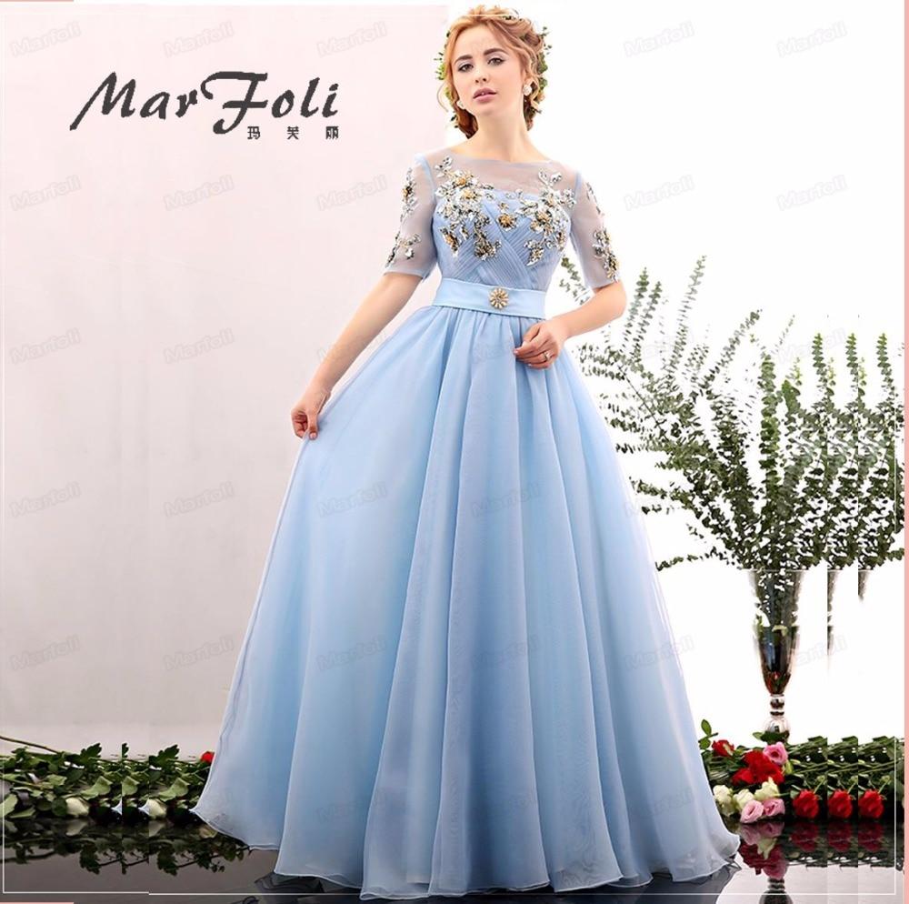Floor Length Sky Blue Evening Dresses Pleat O neck manual Sexy Star ...