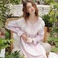 Retro Palácio Lace Mulheres Camisolas Outono Puro Algodão Pijama Completo Manga Princesa Sleepwear Sexy Com Decote Em V do Sexo Feminino s16048