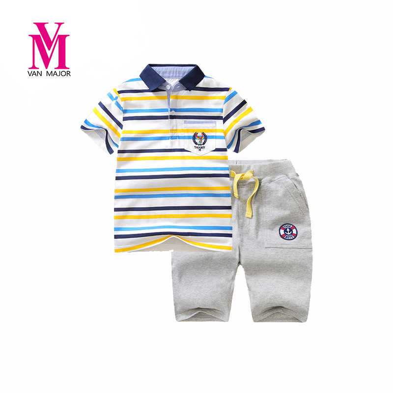 Boys Outfit 2pcs Set Children Suit Tops And Pants Boys Polo Shirts+shorts Clothes Kids Clothes Set Children's Clothes new summer hawaii style fashion flower printed clothing set kid s boys outfit children polo t shirts shorts 2 pcs set