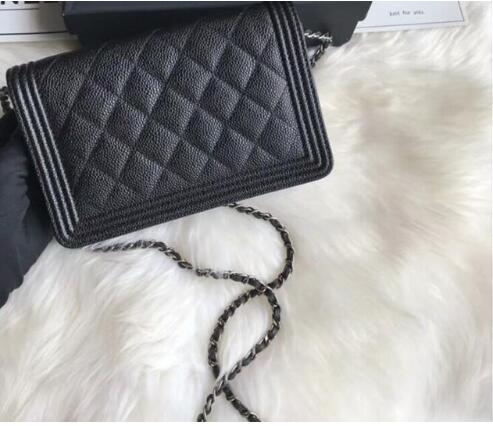 Top quality luxury brand hand bag fashion women caviar wallets on chain leather bag Gold/silver Chain bag free shipping 2018 new women s high quality leather handbag luxury brand caviar square striped bag metal chain shoulder bag caviar real