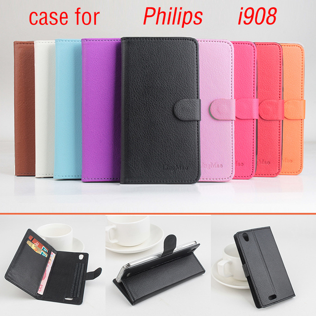 Litchi For Philips I908 Case cover, Good Quality New Leather Case + Hard Back Cover For Philips I 908 Cellphone Phone Case Cover