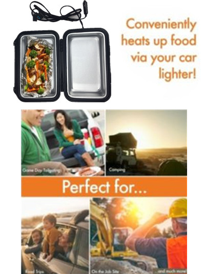 Trailer Stove Oven 12v Car Microwave Lunch Box Portable Kit Camping Meals Plug Aluminum Interior