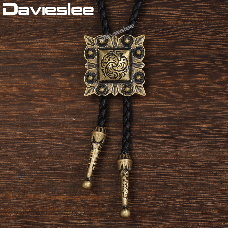 Davieslee Leather Necklace For Men Women Bronze Square Bola Bolo Tie Pendant Black Mens Necklace Cowboy DUN124
