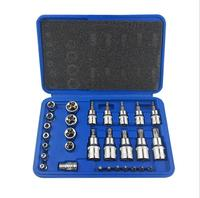 30PCS Chrome vanadium steel pressure batch sleeve group sets head machine motor repair tool socket set