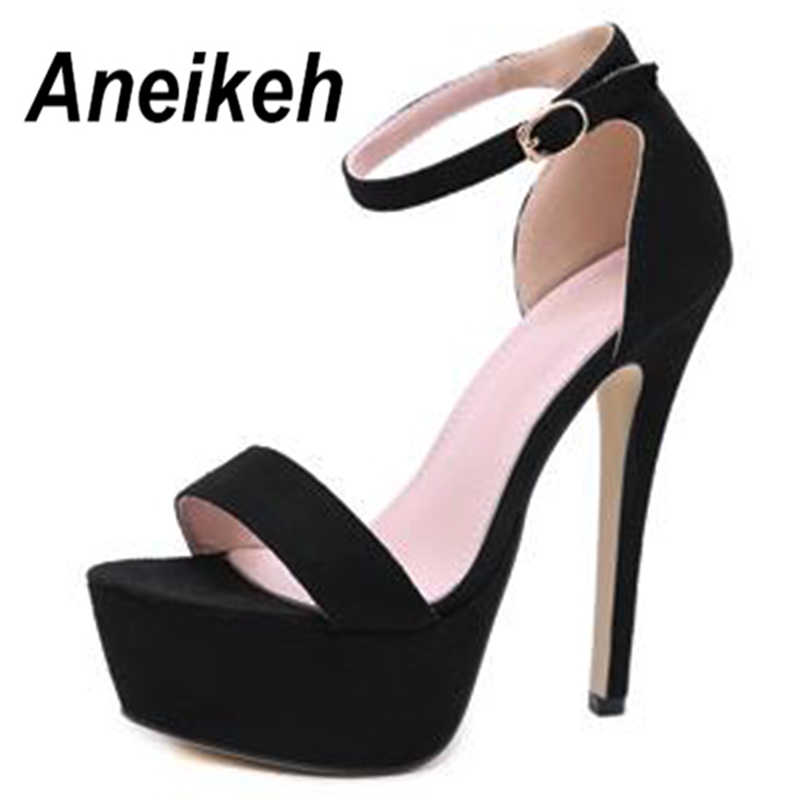 7b8a48b97d Aneikeh 2019 NEW 12CM Platform High Heels Sandals Summer Sexy Ankle Strap  Open Toe Gladiator Party Dress Women Shoes Size 35-40
