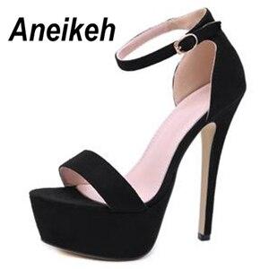 Image 3 - Aneikeh 2020 חדש 14.5CM פלטפורמת עקבים גבוהים סנדלי קיץ סקסי קרסול רצועת בוהן פתוח גלדיאטור המפלגה שמלת נעלי נשים גודל 42