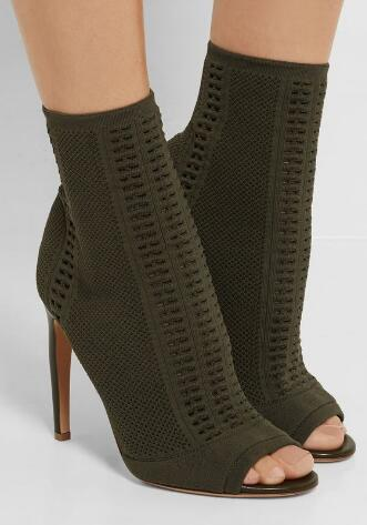 2017 Summer fall Knitted Stretch Peeptoe Ankle Boots green booties comfortable suede boots women sexy open toe shoes